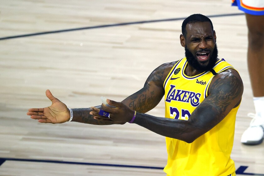 Lakers star LeBron James argues a call during Wednesday's game against the Oklahoma City Thunder.