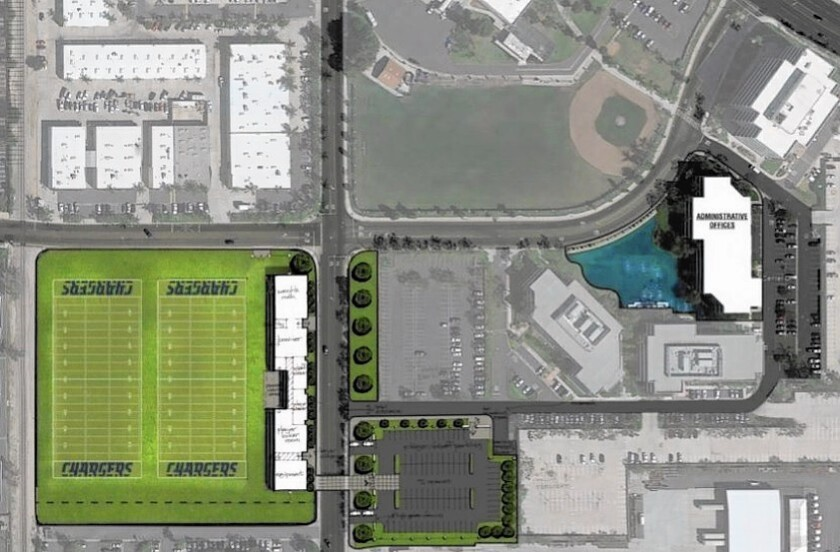 A photo illustration shows a possible Chargers football complex in Santa Ana with two practice fields near Susan Street and Lake Center Drive and offices off Lake Center.