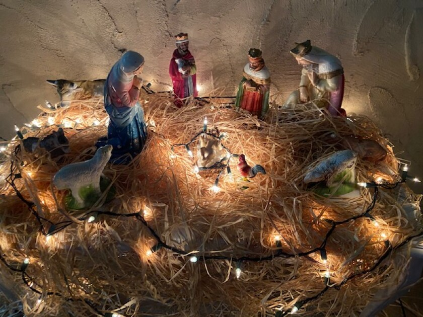 Nativity scene with the visit of the Magi to the Christ Child.