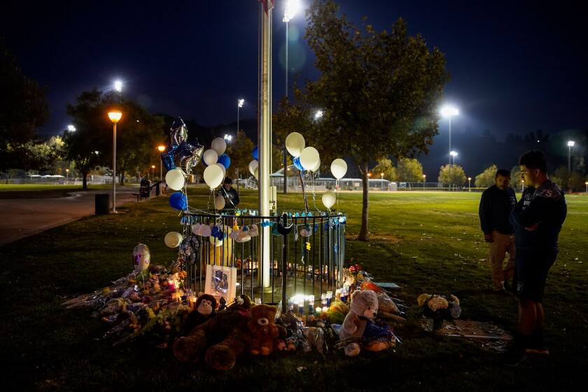 Saugus High School shooting memorial at Central Park in Santa Clarita