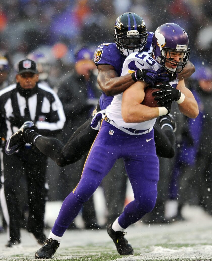 Minnesota Vikings tight end John Carlson (89) tries to break free from Baltimore Ravens strong safety James Ihedigbo as he rushes the ball in the second half of an NFL football game, Sunday, Dec. 8, 2013, in Baltimore. (AP Photo/Gail Burton)