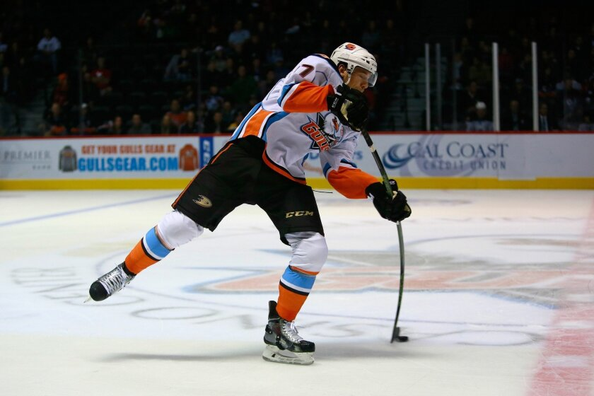 Defenseman Shea Theodore, pictured here in a game earlier this season, scored a goal in the Gulls' playoff berth-clinching win on Wednesday night.