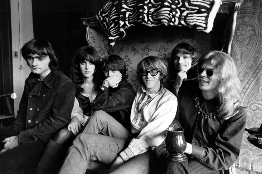 In this March 8, 1968, file photo, members of the rock group Jefferson Airplane gather in San Francisco.
