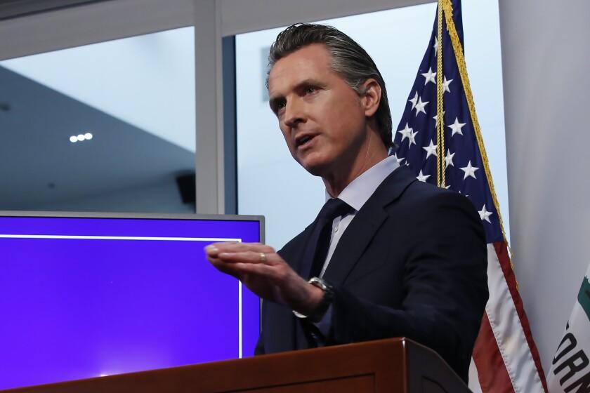 California Gov. Gavin Newsom speaks about coronavirus restrictions in April.