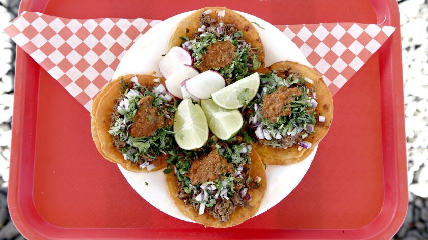 LOS ANGELES, CA-February 6, 2019: The red birria tacos outside the original food truck location of
