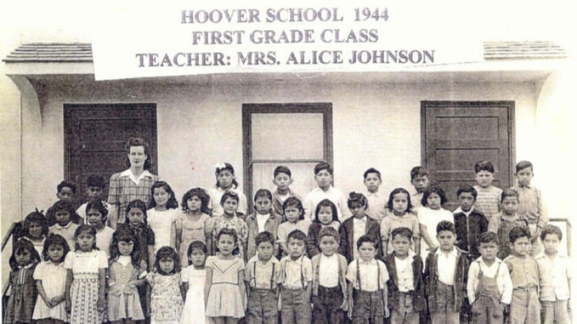 Sylvia Mendez gathers with classmates at the segregated Hoover School for a group photo in 1944. A U.S. District Court ruling in Mendez v. Westminster School District in 1946 ended the practice of forcing students of Mexican ancestry into separate schools.