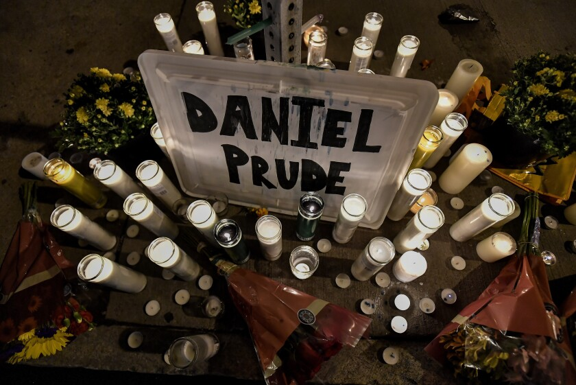 A makeshift memorial in Rochester, N.Y., near the site where Daniel Prude was restrained by police officers
