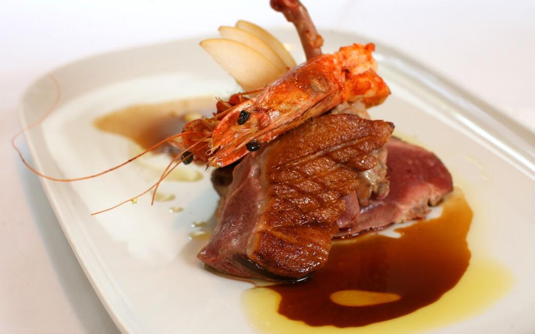 Roast duck with seared prawns