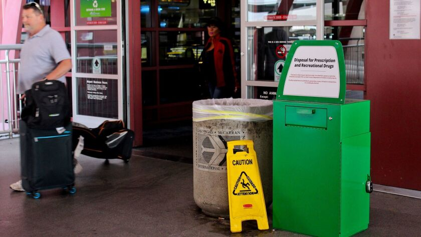 Green metal boxes have been set up at McCarran International Airport in Las Vegas so passengers can dispose of marijuana and other illicit substances.