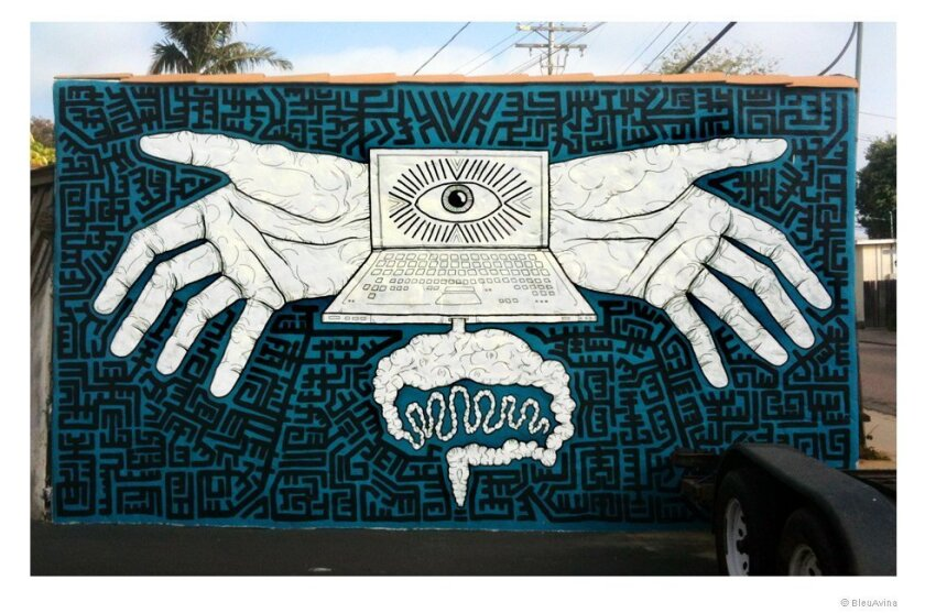 Bleu Avina's second mural, that once lived behind Leucadia Glass; an image of how fast technology progresses and how much it takes humans away from their animal instincts.