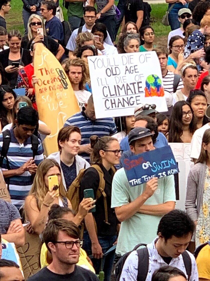 About 500 students turned out for a climate action rally at UC San Diego on Sept. 27, 2019.