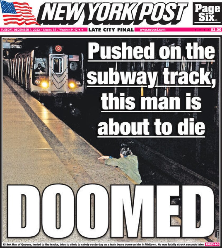 The New York Post has been criticized for publishing the photograph of 58-year-old Ki-Suk Han of Queens, N.Y., who was pushed onto subway tracks as a train approached.