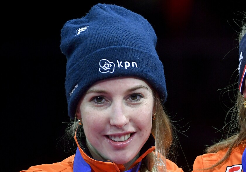 FILE - In this Sunday, Jan. 26, 2020 file photo, silver medal winning Lara van Ruijven smiles, during the medal ceremony of the women's 1,000m race of the ISU European Short Track Speed Skating Championships in Debrecen, Hungary. Dutch world champion short-track speedskater Lara van Ruijven died Friday, July 10, 2020 as a result of a complications from an autoimmune reaction, the national skating organization said. Van Ruijven was 27. (Zsolt Czegledi/MTI via AP, File)