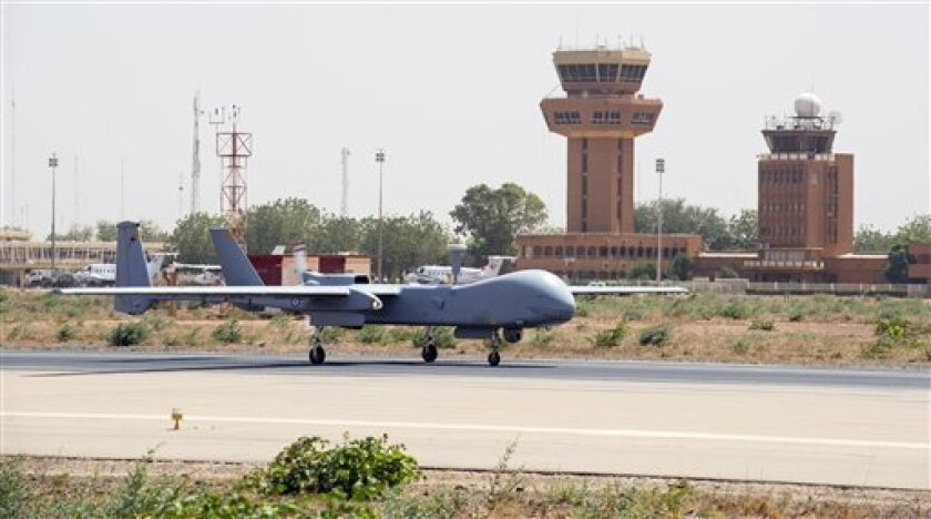 This photo taken Feb. 20, 2013 and released on March 6, 2013, by the French Army Communications Audiovisual office (ECPAD) shows a French air force Hartford drone returning from a mission over Mali, at the Niamey military base, in Niger. France said Monday for the first time that a key al-Qaida leader in Mali is probably dead. An activist close to the terror network's north Africa branch was also reported to have confirmed the death of Algerian-born warlord Abou Zeid.(AP Photo/Anthony Jeuland/E