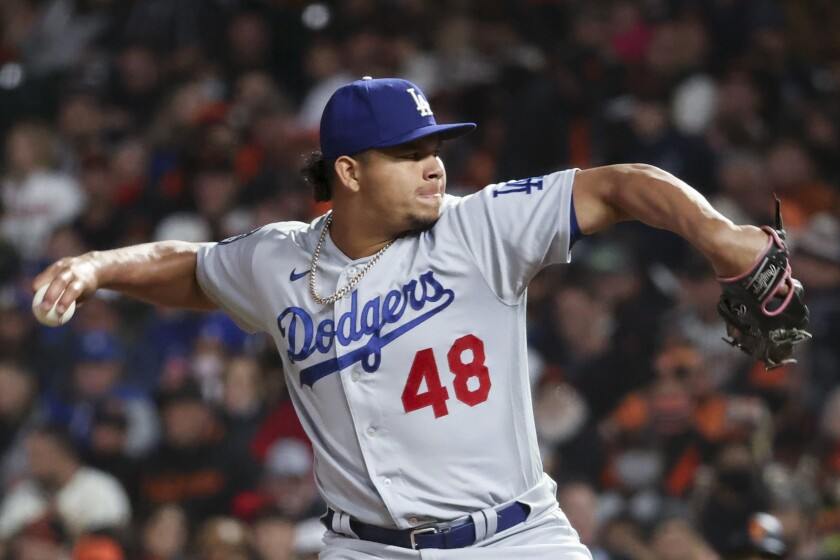 Dodgers reliever Brusdar Graterol delivers a pitch Thursday against the San Francisco Giants.
