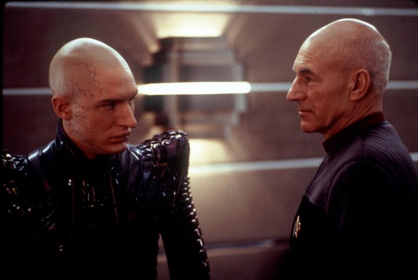 "Tom Hardy and Patrick Stewart in ""Star Trek: Nemesis."""