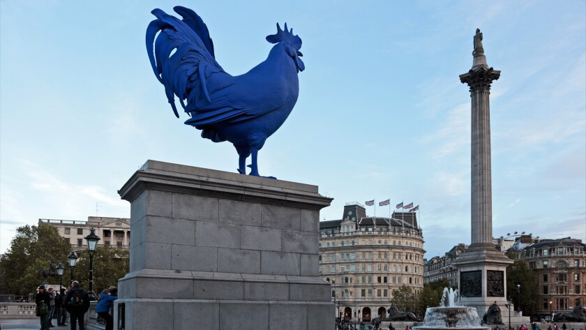 """Hahn/Cock,"" by Katharina Fritsch, on Trafalgar Square's Fourth Plinth. It stands about 15 feet high."