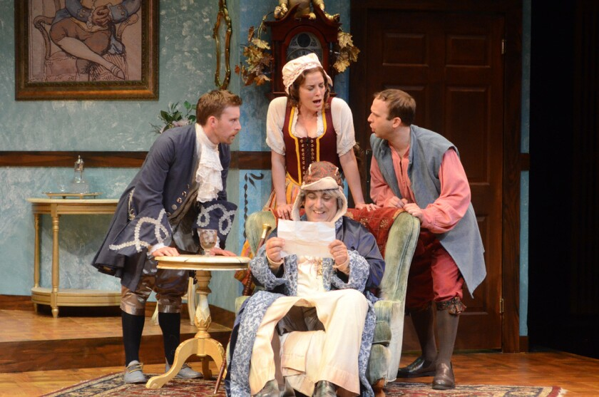"Wallace Angus Bruce, Paige Lindsey White, Matthew Henerson, Adam J. Smith in ""The Heir Apparent"" at International City Theatre"