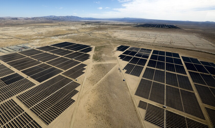 An aerial view of a solar power facility in Kern County