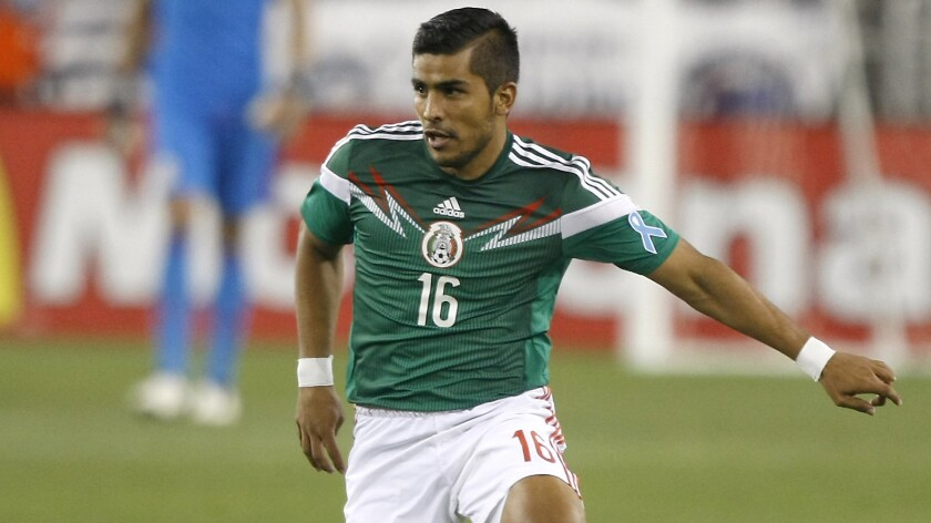 Mexico defender Miguel Angel Ponce controls the ball during an international friendly match against the U.S. in April. Ponce is a Sacramento native.