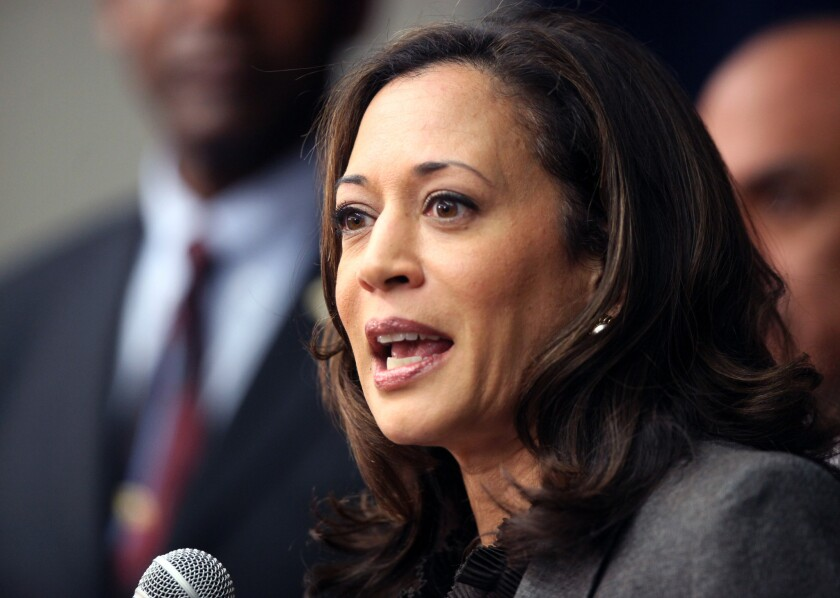 California Atty. Gen. Kamala Harris speaks during a news conference in Los Angeles in 2012. Harris on Thursday reported raising $6 million this year for her U.S. Senate campaign.