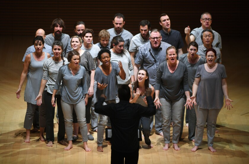 """The Los Angeles Master Chorale in Peter Sellars' production of Orlando di Lasso's """"Tears of St. Peter."""""""