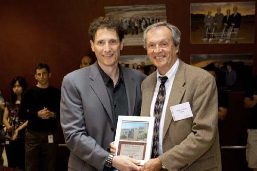 President Mitchell Kronenberg and former UC San Diego Chancellor Robert Dynes. Photo: Courtesy