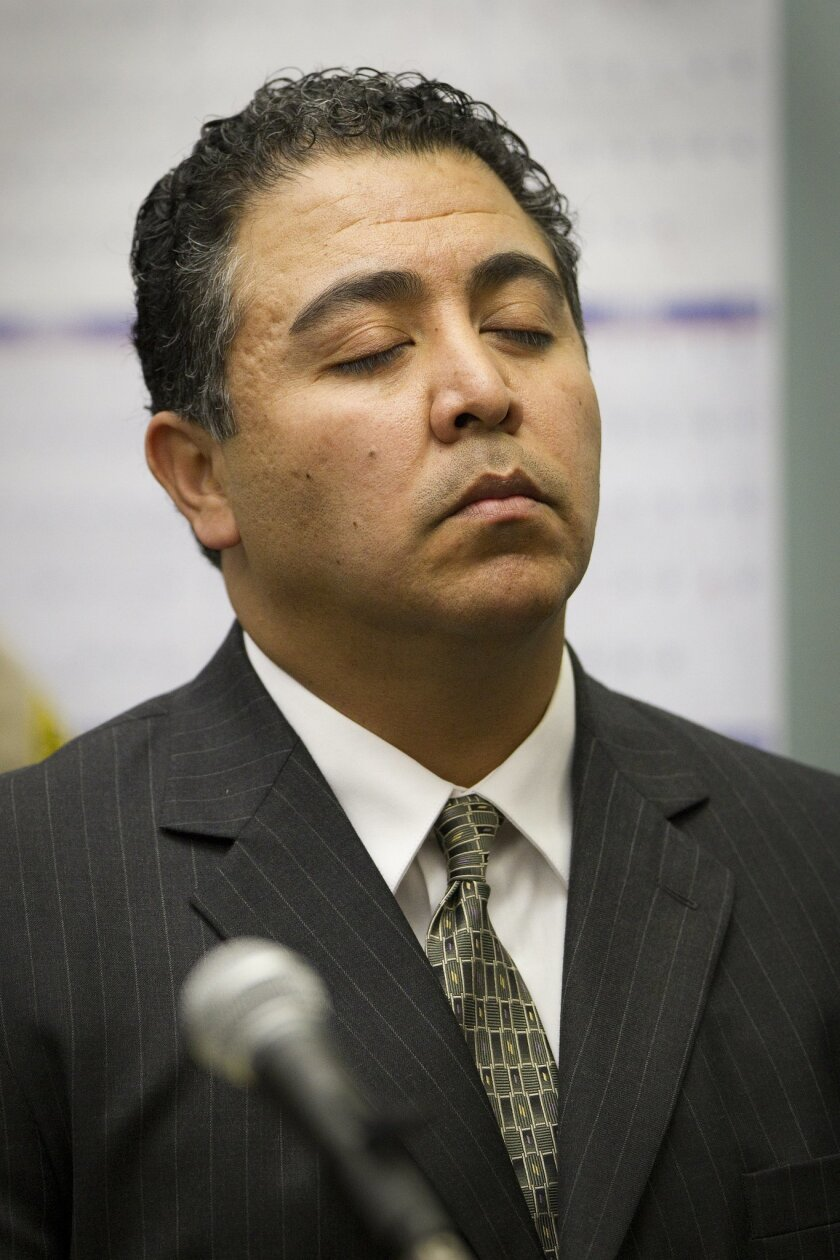 San Diego police traffic Officer Anthony Arevalos during his Superior Court arraignment in March. Arevalos, who was fired in April, has pleaded not guilty to 18 felony counts, including sexual battery, assault under color of authority and receiving a bribe.