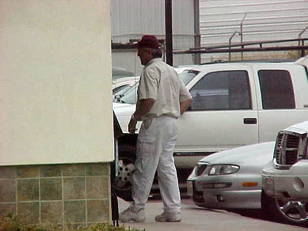 Surveillance photo shows John Charles Ward, a Carlsbad pilot who transported drugs for the Sinaloa cartel, arriving for a meeting with his trafficking partner, Rafael Dominguez, in 2007.