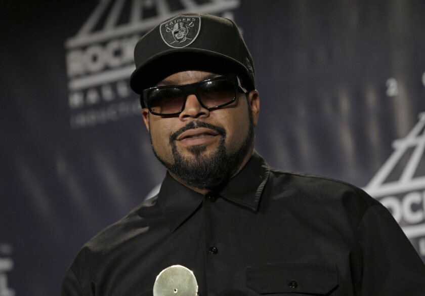 Rapper Ice Cube is seen at the 31st annual Rock and Roll Hall of Fame Induction Ceremony at the Barclays Center in Brooklyn, N.Y., on Friday.
