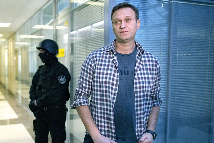 Alexei Navalny fields media questions in Moscow in December 2019.