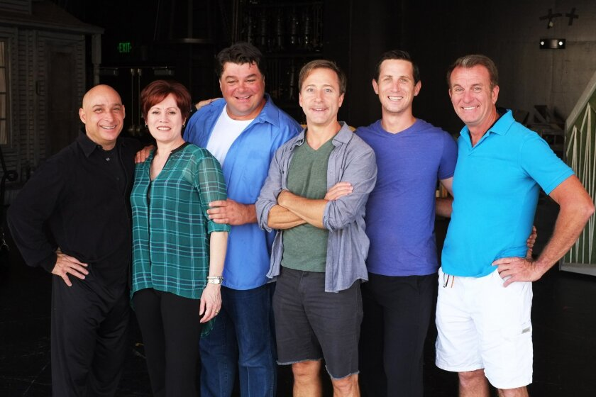 """Director/choreographer Matthew J. Vargo, second from right, with his cast for """"Mel Brooks' Young Frankenstein"""" at Moonlight Amphitheatre in Vista, Jamie Torcellini, left, Tracy Lore, Randall Hickman, Larry Raben and Douglas Davis. CREDIT: Ken Jacques"""