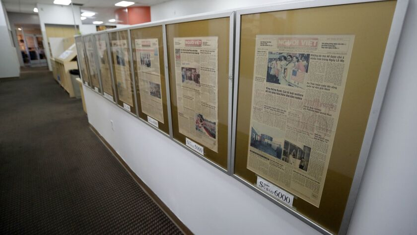Framed articles align a wall at the Nguoi Viet Daily News in Westminster on Wednesday, Oct. 31. Nguo