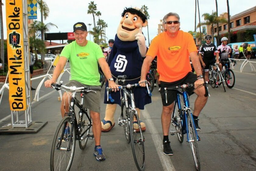 Kevin McCauley and Greg Sacks of Team Godfather Charitable Foundation during a Bike 4 Mike event. Courtesy photo