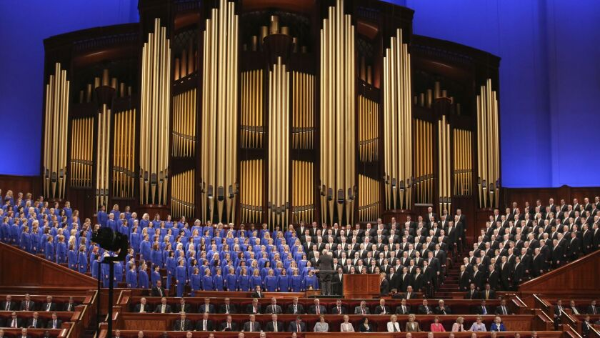 FILE - In this March 31, 2018, file photo, The Mormon Tabernacle Choir perform during the twice-annu