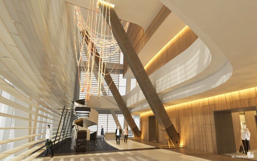 An architect's rendering of the sky lobby that will be on the 70th floor of the InterContinental hotel in downtown L.A.