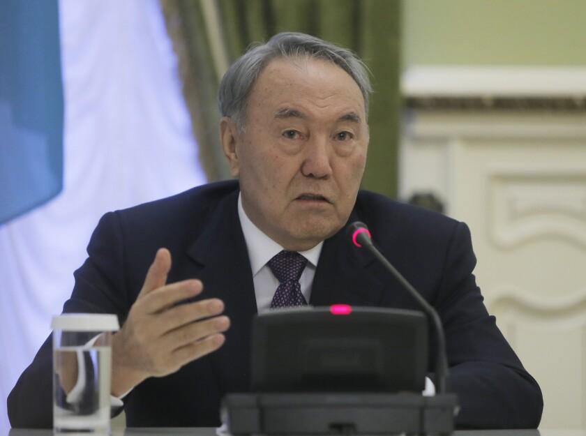 Kazakhstan President Nursultan Nazarbayev addresses the media in the Ukrainian presidential office in Kiev on Monday.