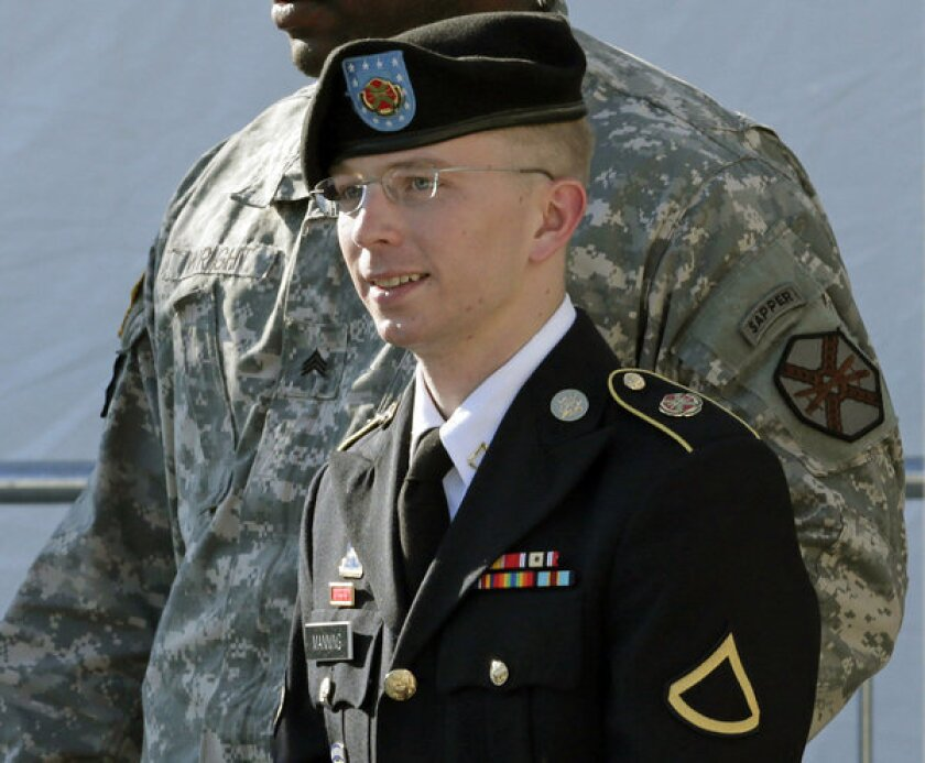 Pfc. Bradley Manning, a 25-year-old former intelligence analyst in Iraq, has been accused of providing WikiLeaks with more than 250,000 U.S. diplomatic cables and thousands of military field reports from Iraq and Afghanistan. Above: Manning is seen after a pretrial hearing on June 25, 2012.