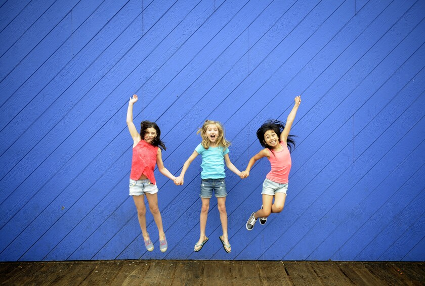 The three Matildas; Mia Sinclair Jenness, left, Mabel Tyler and Gabby Gutierrez at the Santa Monica Pier on June 16, 2015.