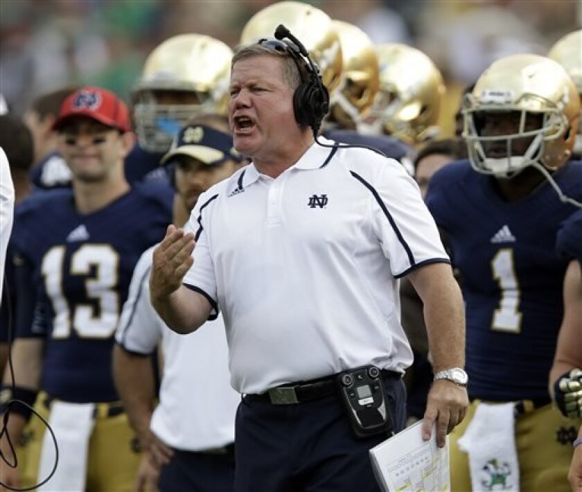 Notre Dame head coach Brian Kelly yells to his team during the second half of an NCAA college football game against Temple in South Bend, Ind., Saturday, Aug. 31, 2013. Notre Dame defeated Temple 28-6. (AP Photo/Michael Conroy)