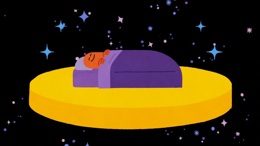An illustration of a figure in bed floating in space