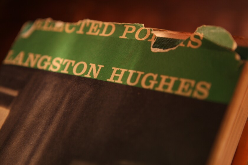 """A much-read copy of """"Selected Poems by Langston Hughes."""""""