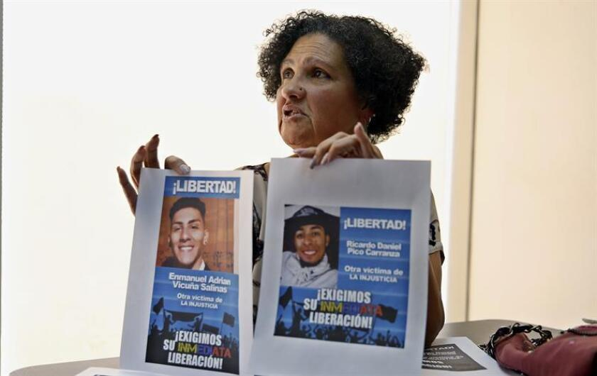 Eugenia Salinas, the mother of 21-year-old student Enmanuel Vicuña Salinas, who was arrested at the site of a street protest last month in a case she describes as an arbitrary detention, is interviewed by EFE in Caracas on Feb. 11, 2019. EPA-EFE/ Leonardo Muñoz