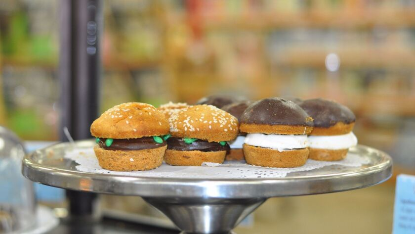 """""""Animal-style hamburgers"""" for dogs at the Dog Bakery in Mar Vista."""
