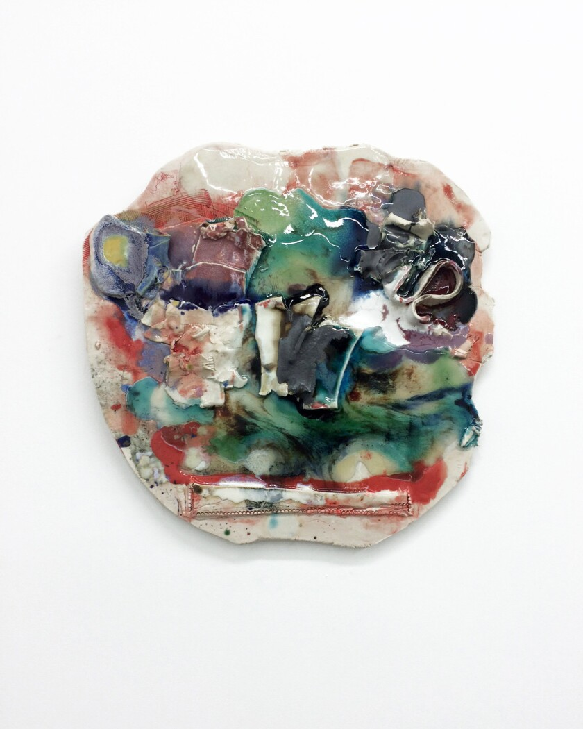 "Jennie Jieun Lee, ""Sherbert in Emerson,"" 2015 glazed stoneware, glass, resin 16 x 16 x 1 inches"