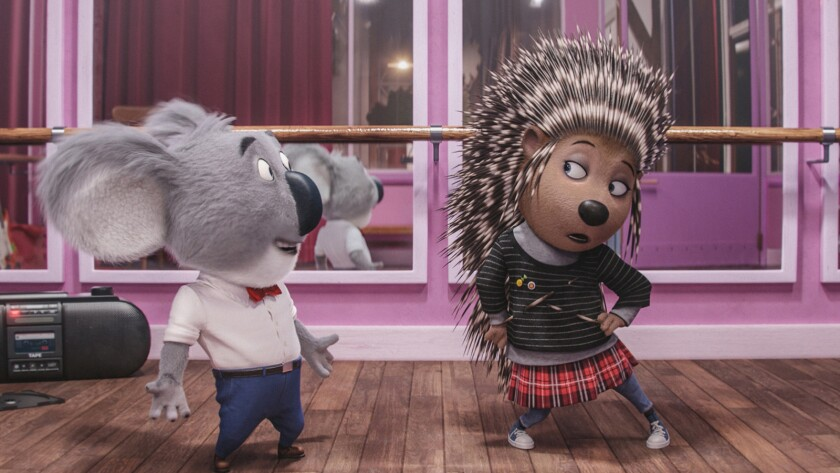 """Matthew McConaughey as Buster Moon, left, and Scarlett Johansson as Ash in the animated movie """"Sing."""""""