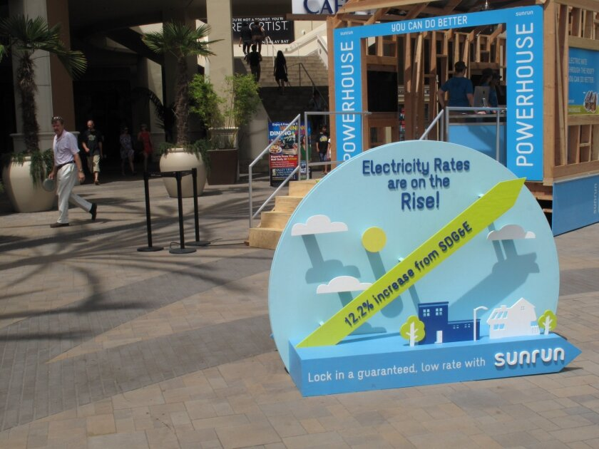 Rooftop solar provider Sunrun seeks out customers at the Fashon Valley mall in Mission Valley.