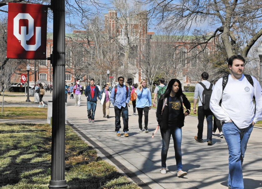 Less than 6% of students at the University of Oklahoma are African American, in a state that is 11% black.
