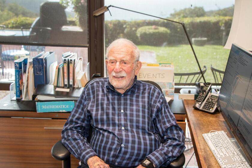 Walter Munk at his desk in his La Jolla home in 2017