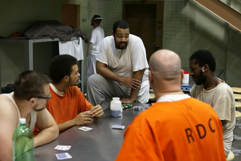 "This image released by A&E Networks shows a scene from ""60 Days In,"" a 12-episode series about a group of innocent civilians who spent two months in an Indiana jail. The series premieres with a double episode on March 10 on A&E. (A&E Networks via AP)"